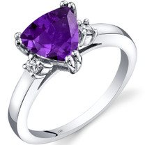 14K White Gold Amethyst Diamond Ring Trillion Cut 1.50 Carat