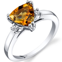 14K White Gold Citrine Diamond Ring Trillion Cut 1.50 Carat