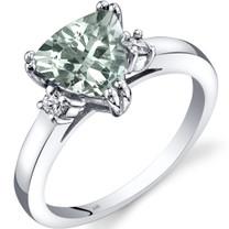 14K White Gold Green Amethyst Diamond Ring Trillion Cut 1.50 Carat