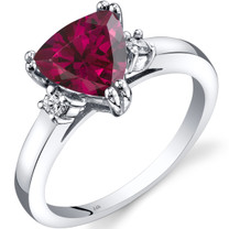 14K White Gold Created Ruby Diamond Ring Trillion Cut 2.25 Carat