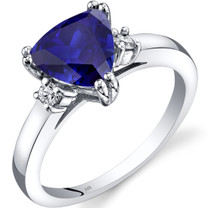 14K White Gold Created Sapphire Diamond Ring Trillion Cut 2.50 Carat