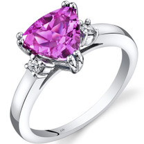 14K White Gold Created Pink Sapphire Diamond Ring Trillion Cut 2.50 Carat