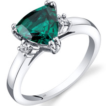 14K White Gold Created Emerald Diamond Ring Trillion Cut 1.50 Carat