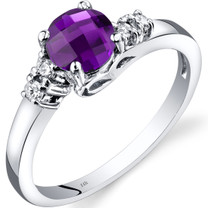 14K White Gold Amethyst Diamond Solstice Ring