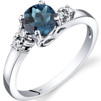 14K White Gold London Blue Topaz Diamond Solstice Ring