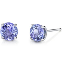 14 Karat White Gold Round Cut 1.50 Carats Tanzanite Stud Earrings