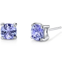 14 Karat White Gold Cushion Cut 2.00 Carats Tanzanite Stud Earrings