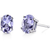 14 Karat White Gold Oval Shape 1.50 Carats Tanzanite Stud Earrings