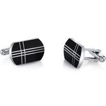 Black Tone Cross Motif Stainless Steel Cufflinks SC1068