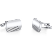 Brushed Finish Razor Cut Stainless Steel Cufflinks SC1070