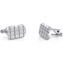 Brick Pattern Brushed Stainless Steel Cufflinks SC1074