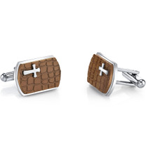 Copper Cobblestone Cross Motif Stainess Steel Cufflinks SC1080