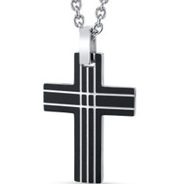 Black Lined Designer Stainless Steel Cross Pendant with 22 inch Necklace SN11130