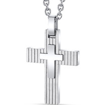 Layered Two-Toned Stainless Steel Cross Pendant with 22 inch Necklace SN11138