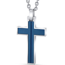 Cool Artic Blue Stripe Stainless Steel Cross Pendant with 22 inch Necklace SN11140