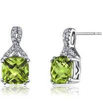 14K White Gold Peridot Earrings Ribbon Design Cushion Cut 4.50 Carats