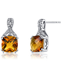 14K White Gold Citrine Earrings Ribbon Design Cushion Cut 4.00 Carats