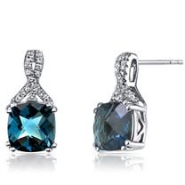14K White Gold London Blue Topaz Earrings Ribbon Design Cushion Cut 5.00 Carats