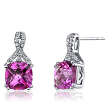 14K White Gold Created Pink Sapphire Earrings Ribbon Design Cushion Cut 6.00 Carats
