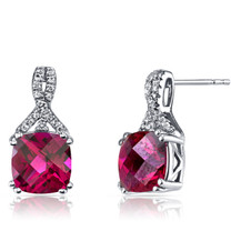 14K White Gold Created Ruby Earrings Ribbon Design Cushion Cut 6.00 Carats