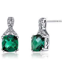 14K White Gold Created Emerald Earrings Ribbon Design Cushion Cut 3.50 Carats