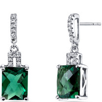 14K White Gold Created Emerald Earrings Radiant Checkerboard Cut 3.75 Carats