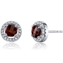 14K White Gold Garnet Halo Earrings Round Checkerboard Cut 1.25 Carats