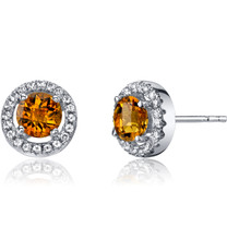 14K White Gold Citrine Halo Earrings Round Checkerboard Cut 0.75 Carats