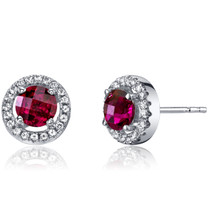 14K White Gold Created Ruby Halo Earrings Round Checkerboard Cut 1.25 Carats