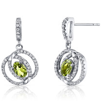 14K White Gold Peridot Earrings Dual Halo Design 1.00 Carats