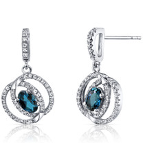 14K White Gold London Blue Topaz Earrings Dual Halo Design 1.00 Carats