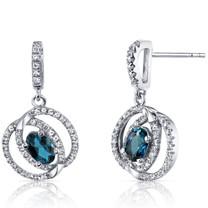 14K White Gold London Blue Topaz Earrings Dual Halo Design 1.00 Carats