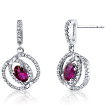 14K White Gold Created Ruby Earrings Dual Halo Design 1.25 Carats