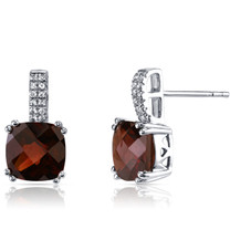 14K White Gold Garnet Earrings Cushion Checkerboard Cut 5.00 Carats
