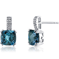 14K White Gold London Blue Topaz Earrings Cushion Checkerboard Cut 5.00 Carats