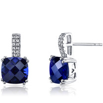 14K White Gold Created Sapphire Earrings Cushion Checkerboard Cut 6.00 Carats