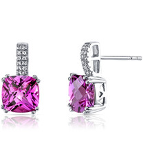14K White Gold Created Pink Sapphire Earrings Cushion Checkerboard Cut 6.00 Carats
