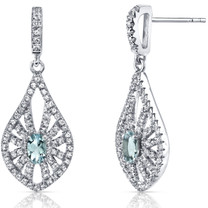 14K White Gold Aquamarine Chandelier Earrings 0.50 Carats