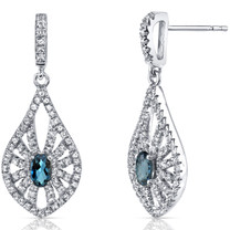 14K White Gold London Blue Topaz Chandelier Earrings 0.50 Carats