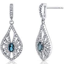 14K White Gold London Blue Topaz Chandelier Earrings 0.50 Carats