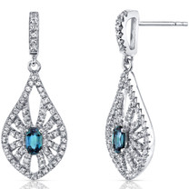 14K White Gold Created Alexandrite Chandelier Earrings 0.50 Carats