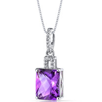 14K White Gold Amethyst Pendant Radiant Cut 2.75 Carats