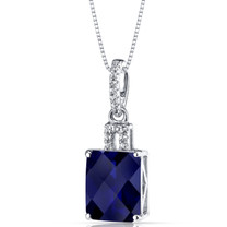 14K White Gold Created Sapphire Pendant Radiant Cut 4.25 Carats