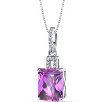 14K White Gold Created Pink Sapphire Pendant Radiant Cut 4.25 Carats