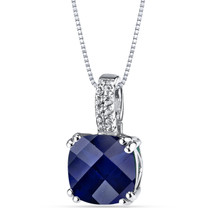 14K White Gold Created Sapphire Pendant Cushion Checkerboard Cut 4.25 Carats