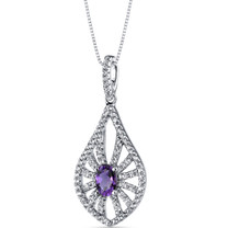 14K White Gold Amethyst Chandelier Pendant 0.50 Carats