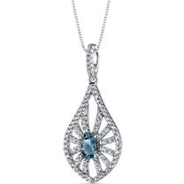 14K White Gold London Blue Topaz Chandelier Pendant 0.50 Carats