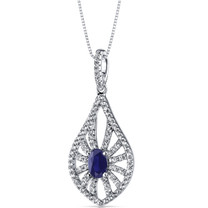 14K White Gold Created Sapphire Chandelier Pendant 0.50 Carats