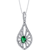 14K White Gold Created Emerald Chandelier Pendant 0.50 Carats