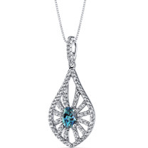 14K White Gold Created Alexandrite Chandelier Pendant 0.50 Carats